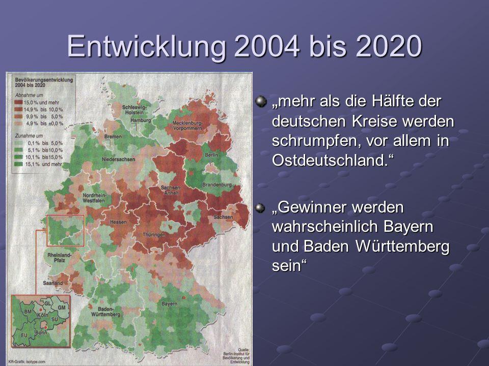 Entwicklung 2004 bis 2020 mehr als die Hälfte der deutschen Kreise werden schrumpfen, vor allem in Ostdeutschland. mehr als die Hälfte der deutschen K