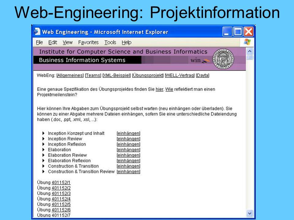 Web-Engineering: Projektinformation