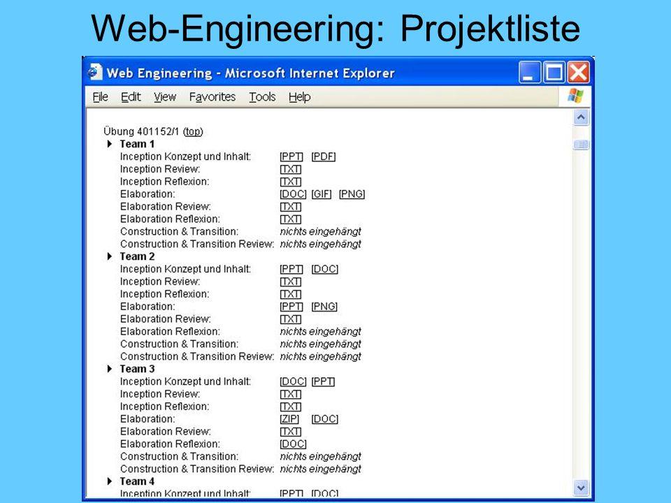 Web-Engineering: Projektliste