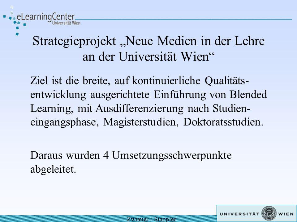 Strategieprojekt Neue Medien in der Lehre an der Universität Wien Ziel ist die breite, auf kontinuierliche Qualitäts- entwicklung ausgerichtete Einfüh