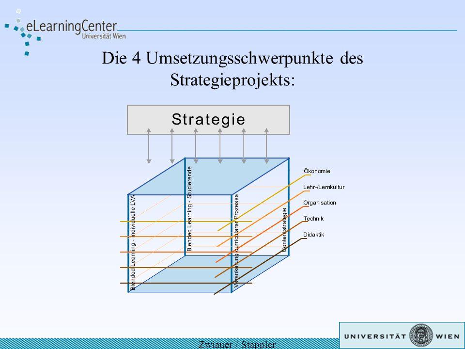 Ebenen der Prozessorientierung: Nachhaltigkeit von Innovation: Bei der Planung der 4 Schwerpunkte werden die 5 Entwicklungsdimensionen Didaktik, Technik, Organisation, Lehr-/Lernkultur, Ökonomie des Frameworks für Nachhaltigkeit von eLearning-Innovationen berücksichtigt; daraus ergeben sich komplexe, miteinander verknüpfte Umsetzungsprozesse.