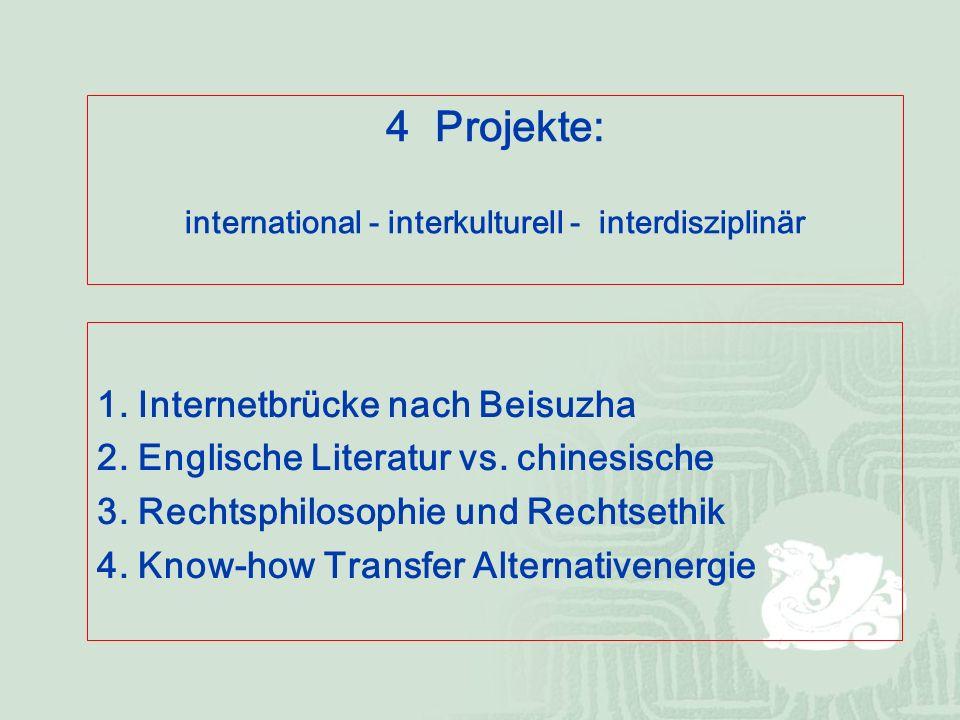 1. Internetbrücke nach Beisuzha 2. Englische Literatur vs.