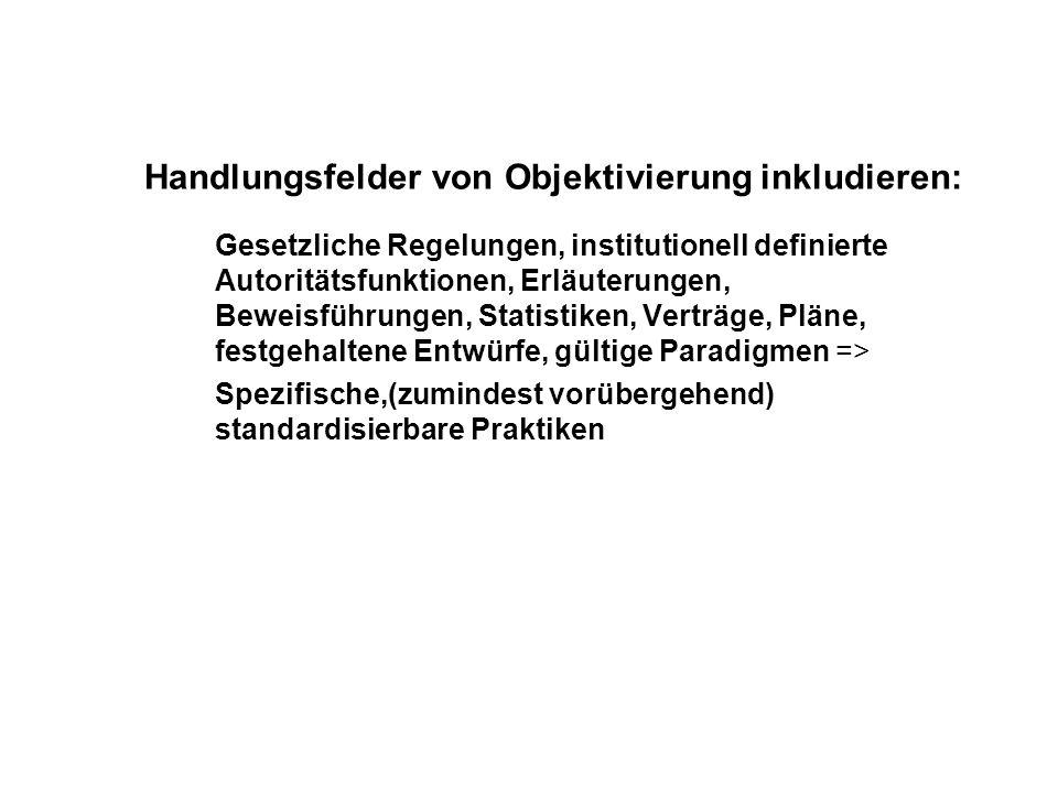 Handlungsfelder von Objektivierung inkludieren: Gesetzliche Regelungen, institutionell definierte Autoritätsfunktionen, Erläuterungen, Beweisführungen, Statistiken, Verträge, Pläne, festgehaltene Entwürfe, gültige Paradigmen => Spezifische,(zumindest vorübergehend) standardisierbare Praktiken