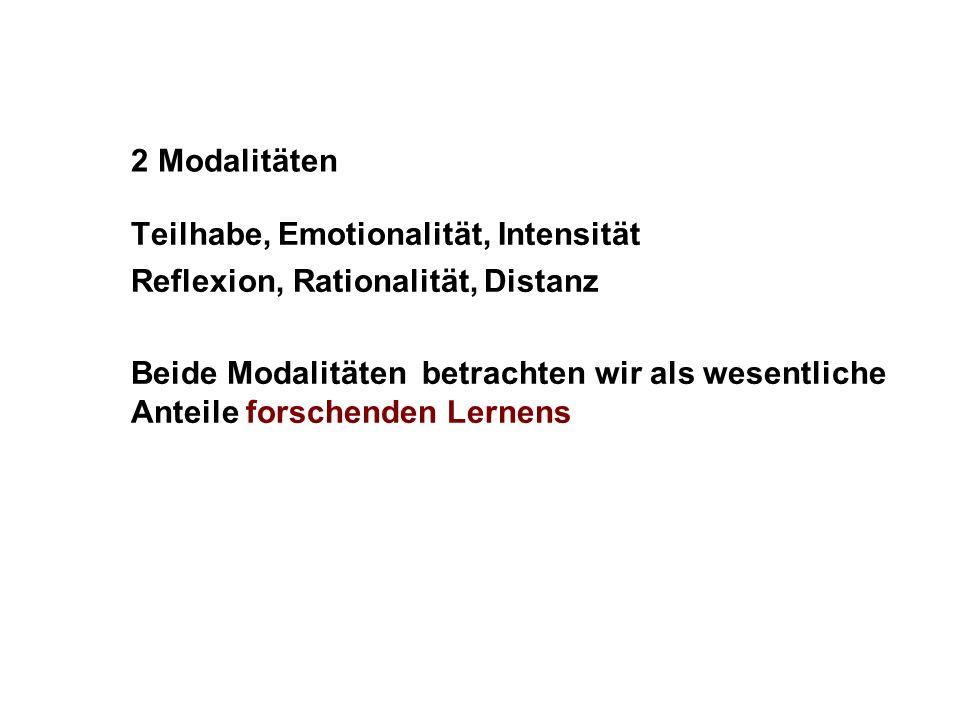 2 Modalitäten Teilhabe, Emotionalität, Intensität Reflexion, Rationalität, Distanz Beide Modalitäten betrachten wir als wesentliche Anteile forschende