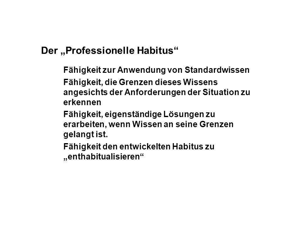 Der Professionelle Habitus Fähigkeit zur Anwendung von Standardwissen Fähigkeit, die Grenzen dieses Wissens angesichts der Anforderungen der Situation zu erkennen Fähigkeit, eigenständige Lösungen zu erarbeiten, wenn Wissen an seine Grenzen gelangt ist.