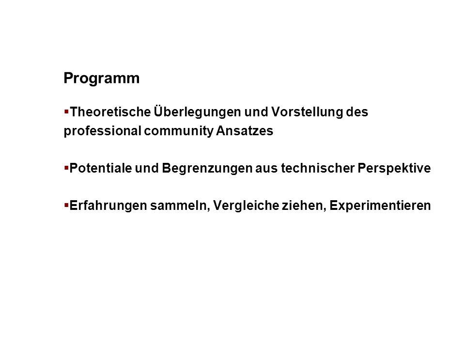 Programm Theoretische Überlegungen und Vorstellung des professional community Ansatzes Potentiale und Begrenzungen aus technischer Perspektive Erfahru