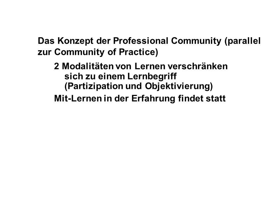 Das Konzept der Professional Community (parallel zur Community of Practice) 2 Modalitäten von Lernen verschränken sich zu einem Lernbegriff (Partizipa