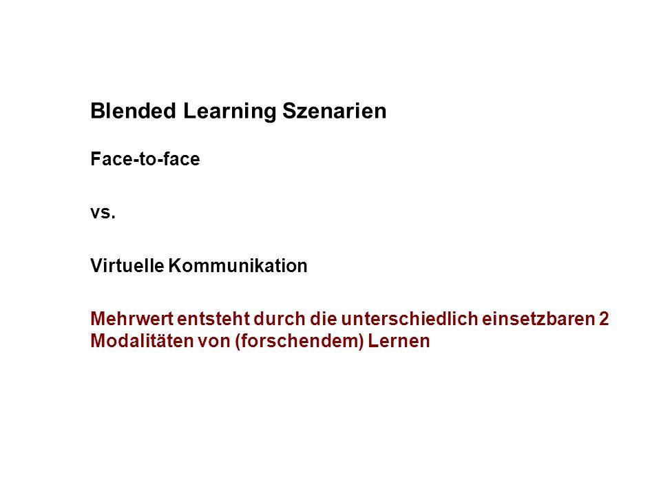 Blended Learning Szenarien Face-to-face vs. Virtuelle Kommunikation Mehrwert entsteht durch die unterschiedlich einsetzbaren 2 Modalitäten von (forsch