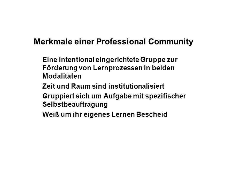 Merkmale einer Professional Community Eine intentional eingerichtete Gruppe zur Förderung von Lernprozessen in beiden Modalitäten Zeit und Raum sind i
