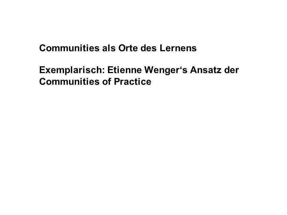 Communities als Orte des Lernens Exemplarisch: Etienne Wengers Ansatz der Communities of Practice
