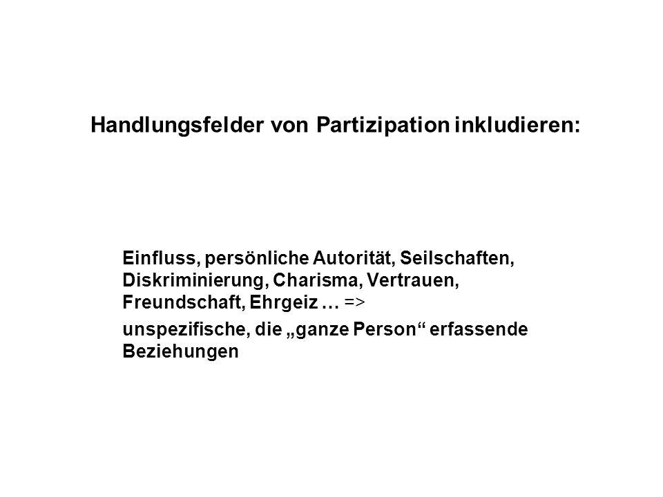 Handlungsfelder von Partizipation inkludieren: Einfluss, persönliche Autorität, Seilschaften, Diskriminierung, Charisma, Vertrauen, Freundschaft, Ehrg