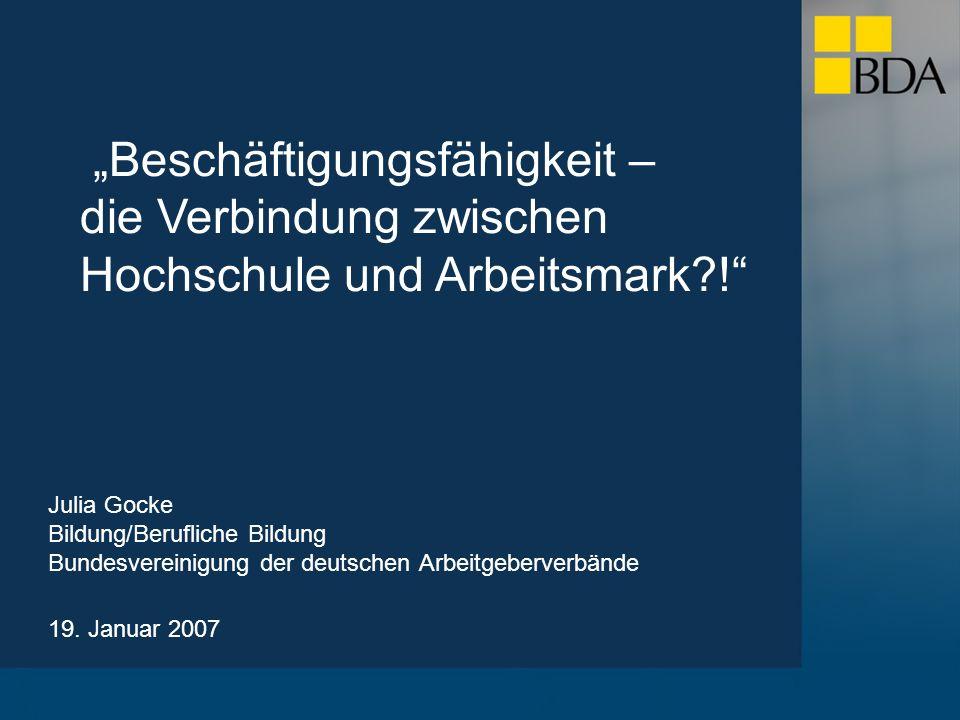 Julia Gocke Bildung/Berufliche Bildung Bundesvereinigung der deutschen Arbeitgeberverbände 19.