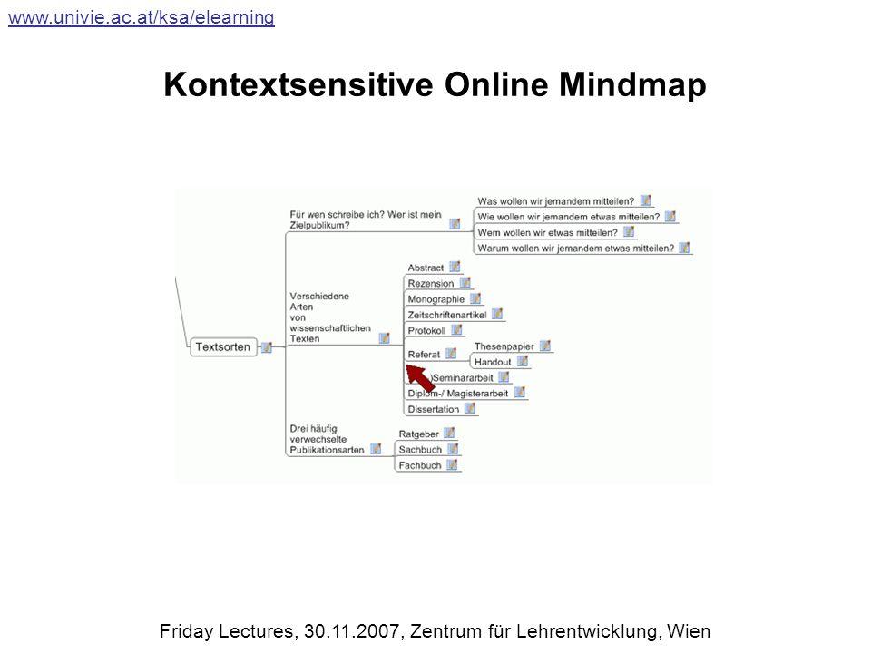 Kontextsensitive Online Mindmap www.univie.ac.at/ksa/elearning Friday Lectures, 30.11.2007, Zentrum für Lehrentwicklung, Wien