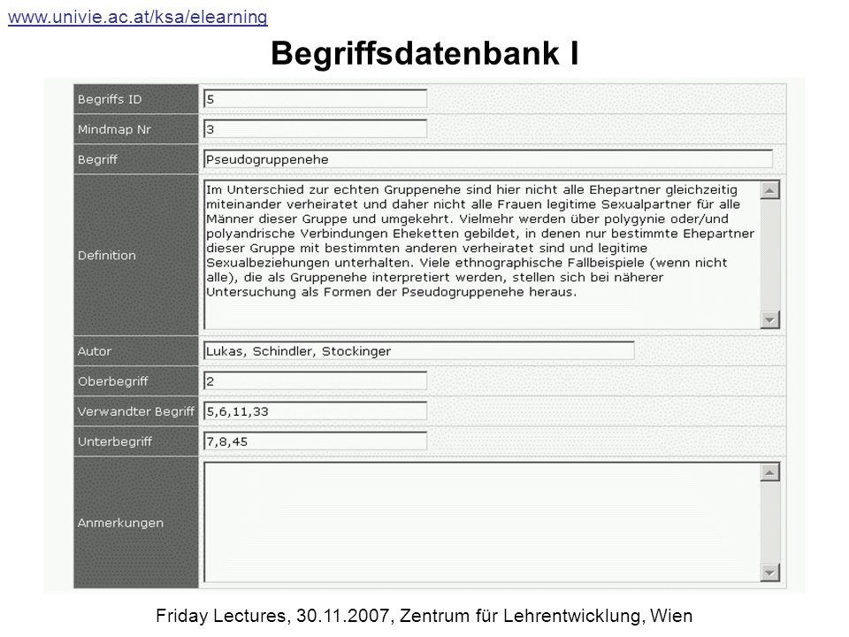 Begriffsdatenbank I www.univie.ac.at/ksa/elearning Friday Lectures, 30.11.2007, Zentrum für Lehrentwicklung, Wien