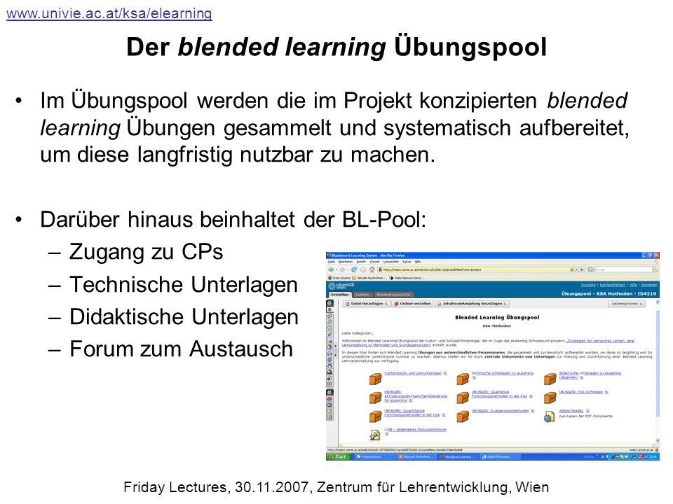 Der blended learning Übungspool Im Übungspool werden die im Projekt konzipierten blended learning Übungen gesammelt und systematisch aufbereitet, um diese langfristig nutzbar zu machen.