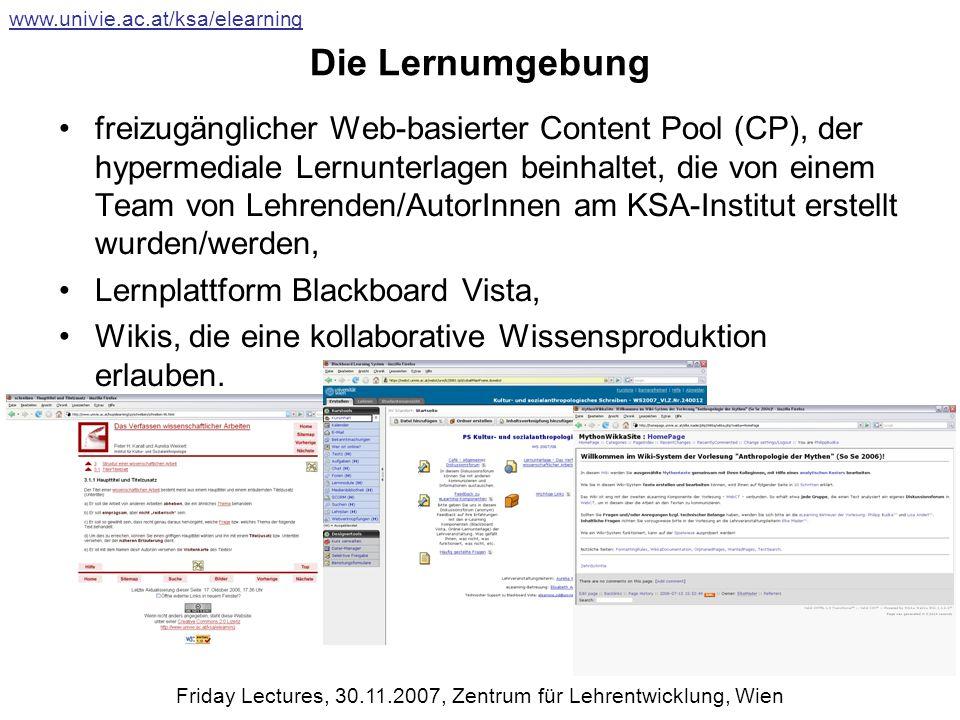 Die Lernumgebung freizugänglicher Web-basierter Content Pool (CP), der hypermediale Lernunterlagen beinhaltet, die von einem Team von Lehrenden/AutorInnen am KSA-Institut erstellt wurden/werden, Lernplattform Blackboard Vista, Wikis, die eine kollaborative Wissensproduktion erlauben.