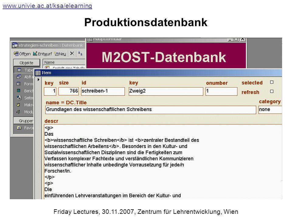 Produktionsdatenbank www.univie.ac.at/ksa/elearning Friday Lectures, 30.11.2007, Zentrum für Lehrentwicklung, Wien