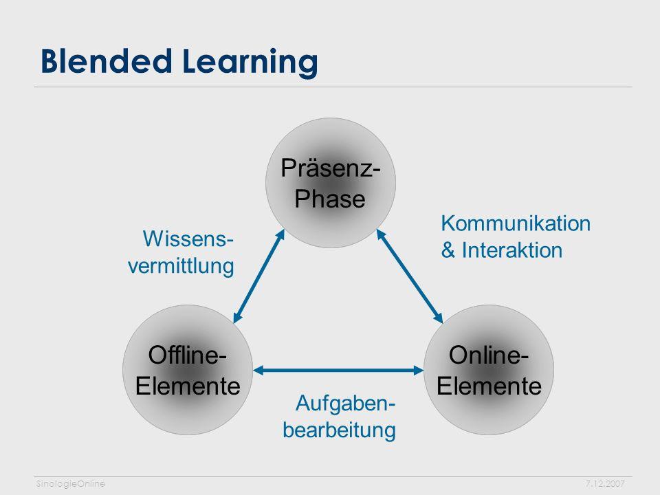 SinologieOnline7.12.2007 Blended Learning Präsenz- Phase Online- Elemente Offline- Elemente Kommunikation & Interaktion Wissens- vermittlung Aufgaben- bearbeitung