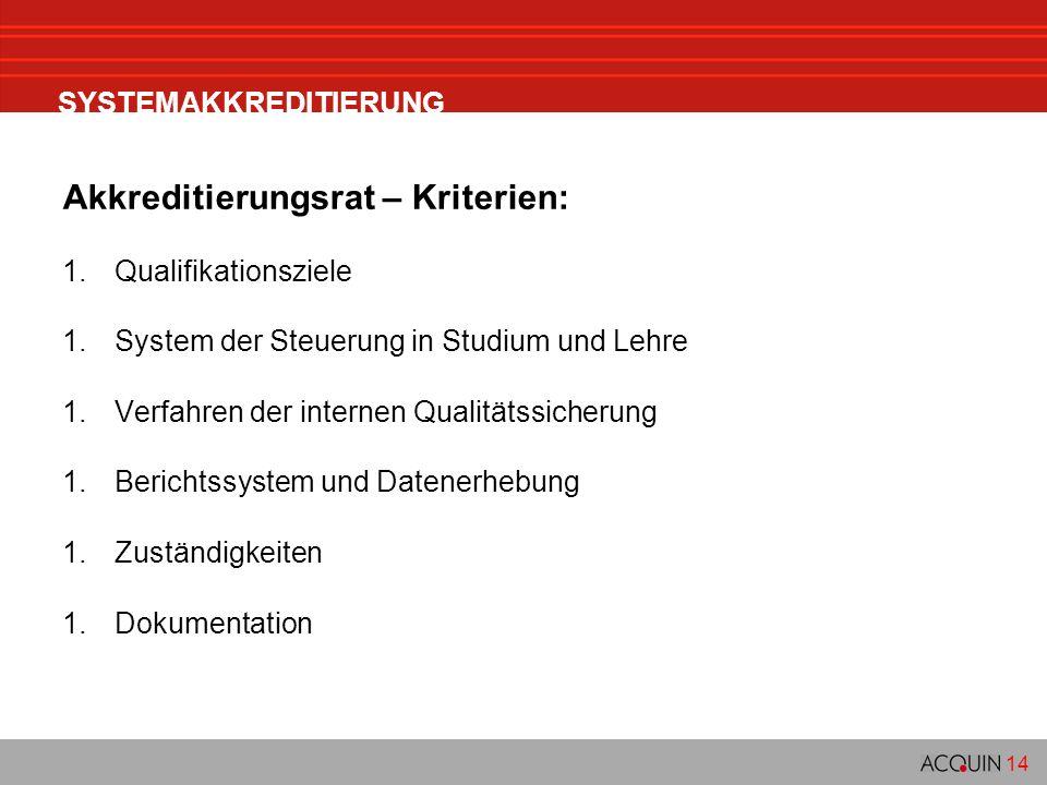 14 SYSTEMAKKREDITIERUNG Akkreditierungsrat – Kriterien: 1.Qualifikationsziele 1.System der Steuerung in Studium und Lehre 1.Verfahren der internen Qua