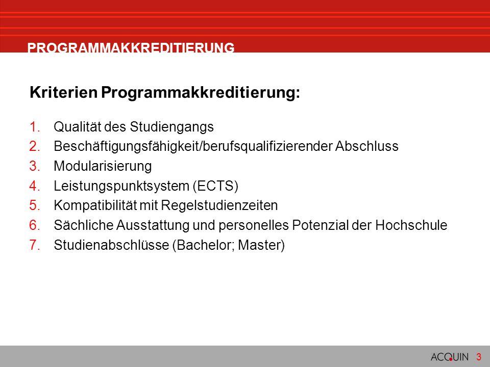 3 PROGRAMMAKKREDITIERUNG Kriterien Programmakkreditierung: 1.Qualität des Studiengangs 2.Beschäftigungsfähigkeit/berufsqualifizierender Abschluss 3.Modularisierung 4.Leistungspunktsystem (ECTS) 5.Kompatibilität mit Regelstudienzeiten 6.Sächliche Ausstattung und personelles Potenzial der Hochschule 7.Studienabschlüsse (Bachelor; Master)