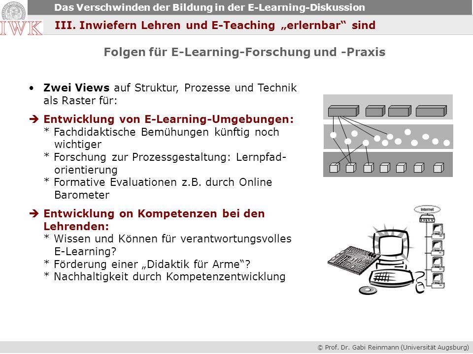 © Prof. Dr. Gabi Reinmann (Universität Augsburg) Das Verschwinden der Bildung in der E-Learning-Diskussion Folgen für E-Learning-Forschung und -Praxis