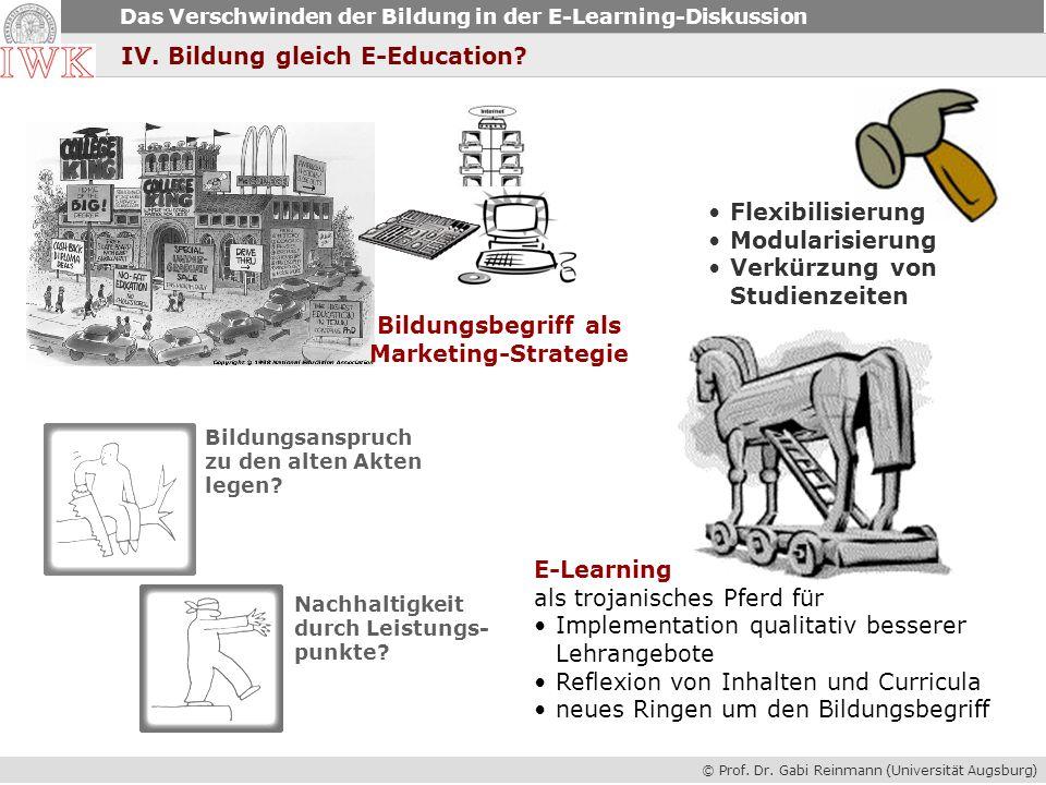 © Prof. Dr. Gabi Reinmann (Universität Augsburg) Das Verschwinden der Bildung in der E-Learning-Diskussion IV. Bildung gleich E-Education? Bildungsbeg