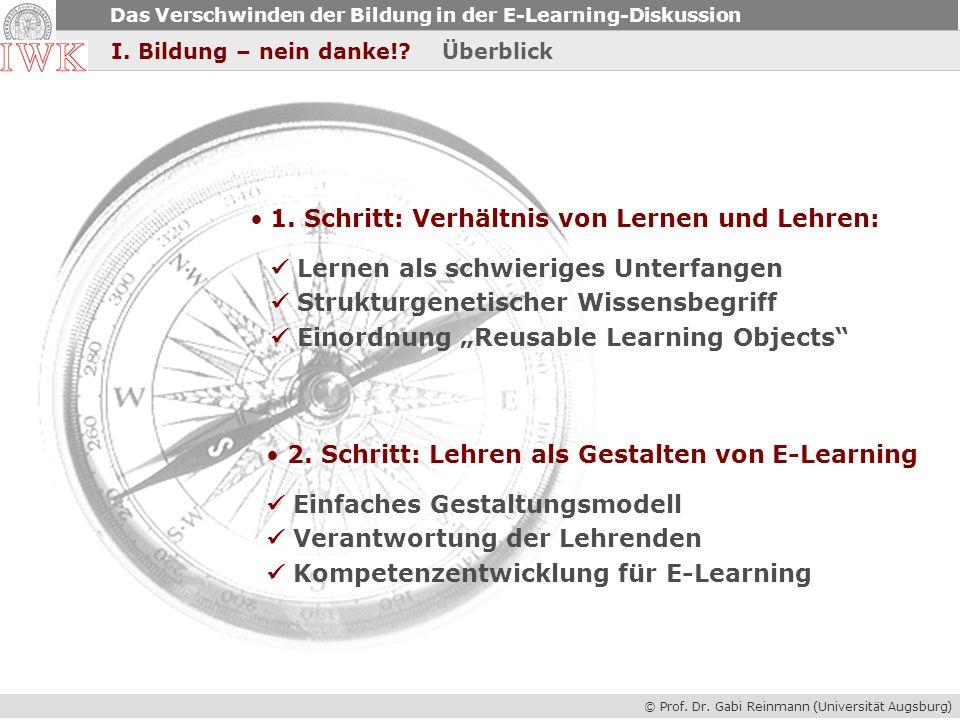 © Prof. Dr. Gabi Reinmann (Universität Augsburg) Das Verschwinden der Bildung in der E-Learning-Diskussion I. Bildung – nein danke!? Überblick 1. Schr