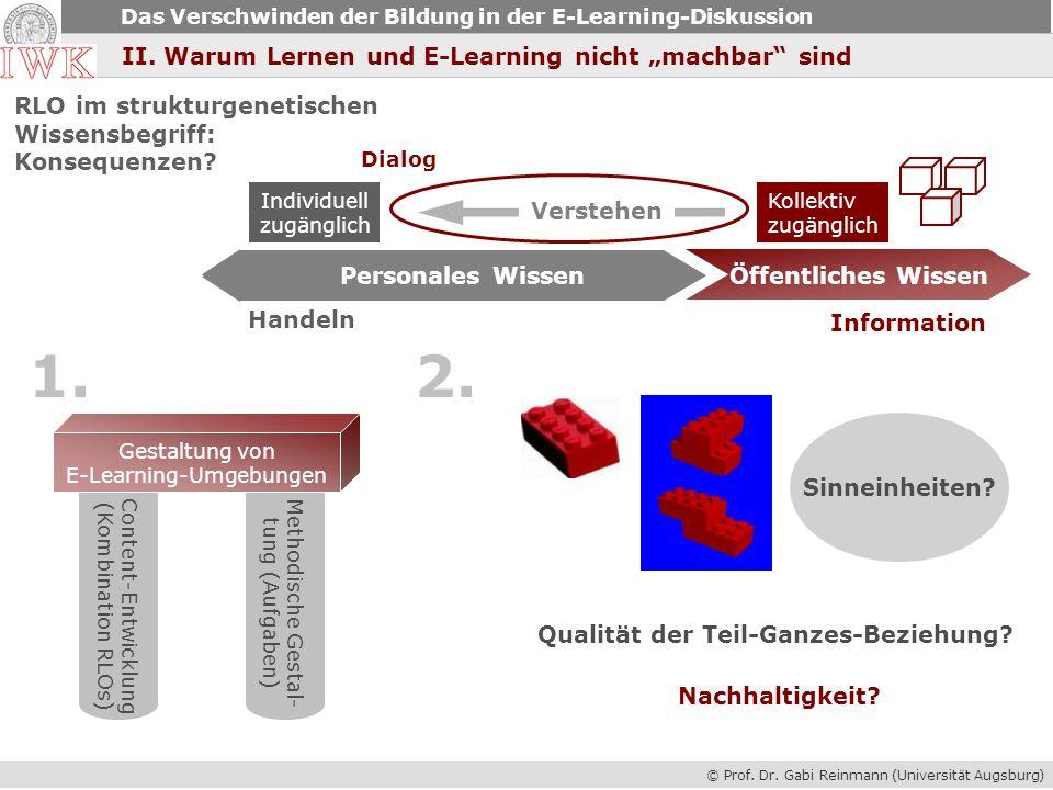 © Prof. Dr. Gabi Reinmann (Universität Augsburg) Das Verschwinden der Bildung in der E-Learning-Diskussion II. Warum Lernen und E-Learning nicht machb