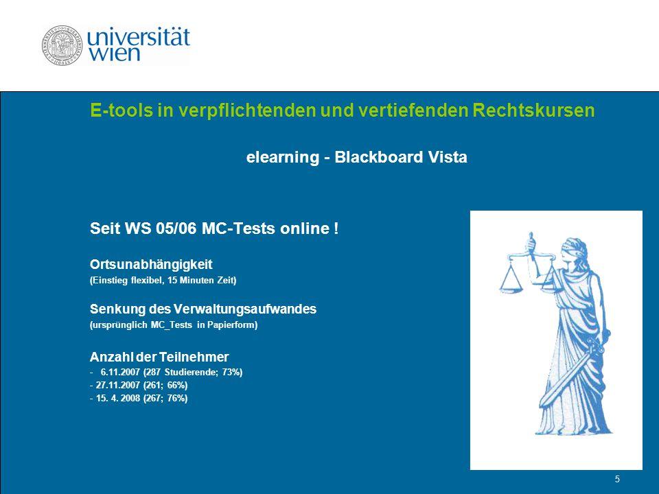 5 E-tools in verpflichtenden und vertiefenden Rechtskursen elearning - Blackboard Vista Seit WS 05/06 MC-Tests online .