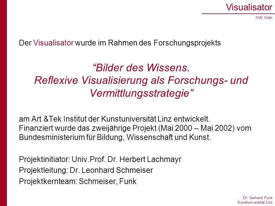 Dr. Gerhard Funk Kunstuniversität Linz Visualisator IWK Wien Der Visualisator wurde im Rahmen des Forschungsprojekts Bilder des Wissens. Reflexive Vis