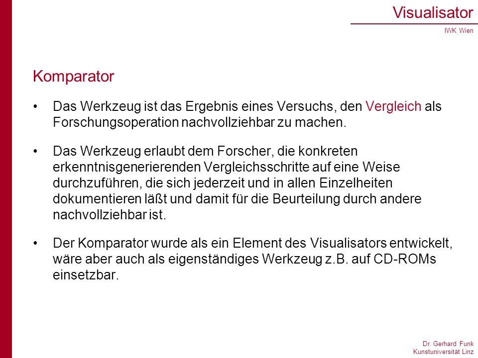 Dr. Gerhard Funk Kunstuniversität Linz Visualisator IWK Wien Komparator Das Werkzeug ist das Ergebnis eines Versuchs, den Vergleich als Forschungsoper