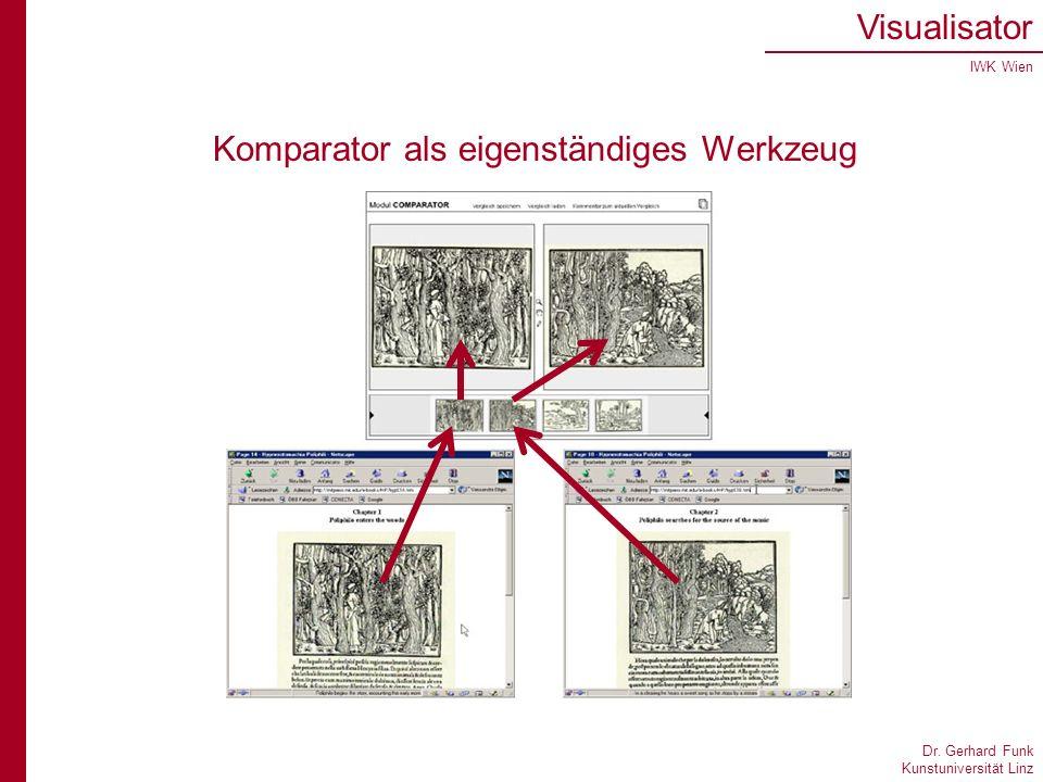 Dr. Gerhard Funk Kunstuniversität Linz Visualisator IWK Wien Komparator als eigenständiges Werkzeug