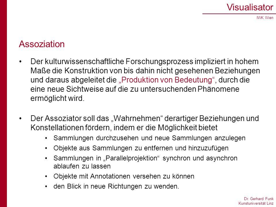 Dr. Gerhard Funk Kunstuniversität Linz Visualisator IWK Wien Assoziation Der kulturwissenschaftliche Forschungsprozess impliziert in hohem Maße die Ko