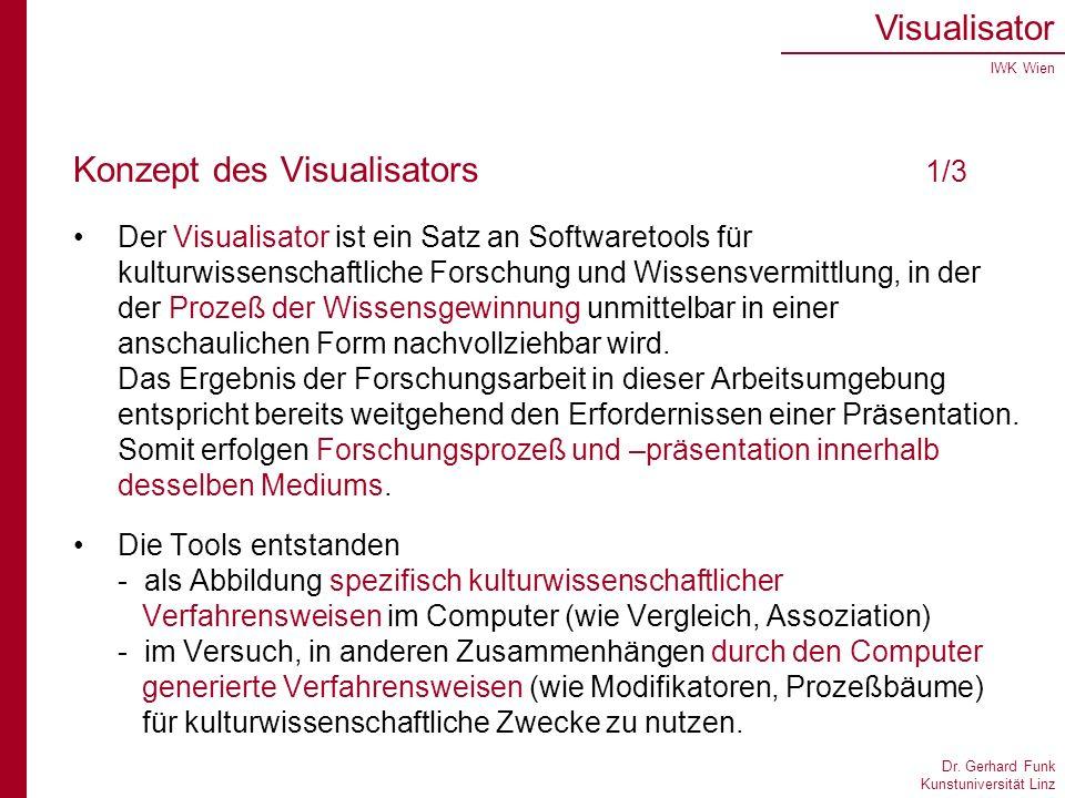 Dr. Gerhard Funk Kunstuniversität Linz Visualisator IWK Wien Konzept des Visualisators 1/3 Der Visualisator ist ein Satz an Softwaretools für kulturwi