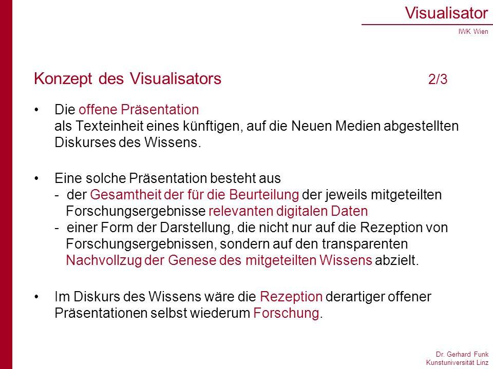 Dr. Gerhard Funk Kunstuniversität Linz Visualisator IWK Wien Konzept des Visualisators 2/3 Die offene Präsentation als Texteinheit eines künftigen, au