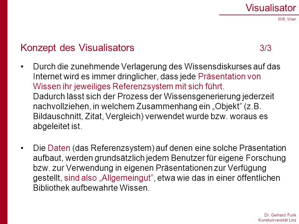 Dr. Gerhard Funk Kunstuniversität Linz Visualisator IWK Wien Konzept des Visualisators 3/3 Durch die zunehmende Verlagerung des Wissensdiskurses auf d