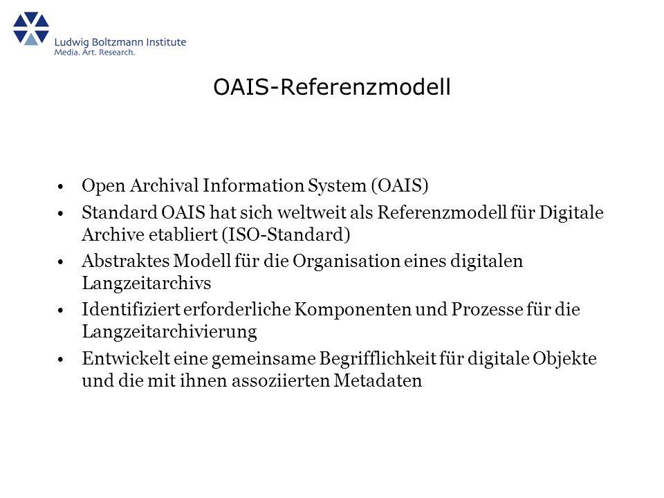 OAIS-Referenzmodell Open Archival Information System (OAIS) Standard OAIS hat sich weltweit als Referenzmodell für Digitale Archive etabliert (ISO-Standard) Abstraktes Modell für die Organisation eines digitalen Langzeitarchivs Identifiziert erforderliche Komponenten und Prozesse für die Langzeitarchivierung Entwickelt eine gemeinsame Begrifflichkeit für digitale Objekte und die mit ihnen assoziierten Metadaten