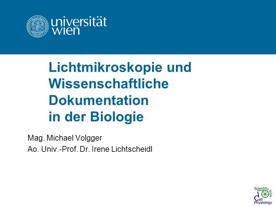 Lichtmikroskopie und Wissenschaftliche Dokumentation in der Biologie Mag. Michael Volgger Ao. Univ.-Prof. Dr. Irene Lichtscheidl