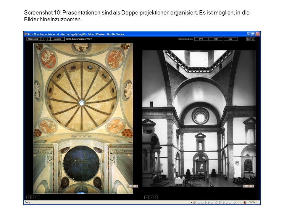 Screenshot 10: Präsentationen sind als Doppelprojektionen organisiert. Es ist möglich, in die Bilder hineinzuzoomen.