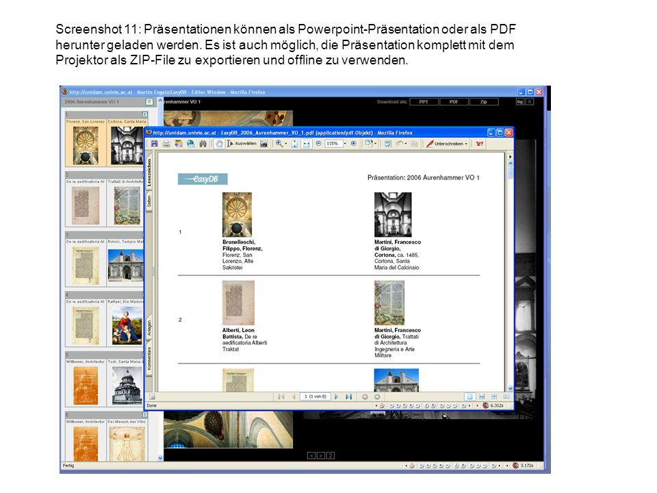 Screenshot 11: Präsentationen können als Powerpoint-Präsentation oder als PDF herunter geladen werden. Es ist auch möglich, die Präsentation komplett