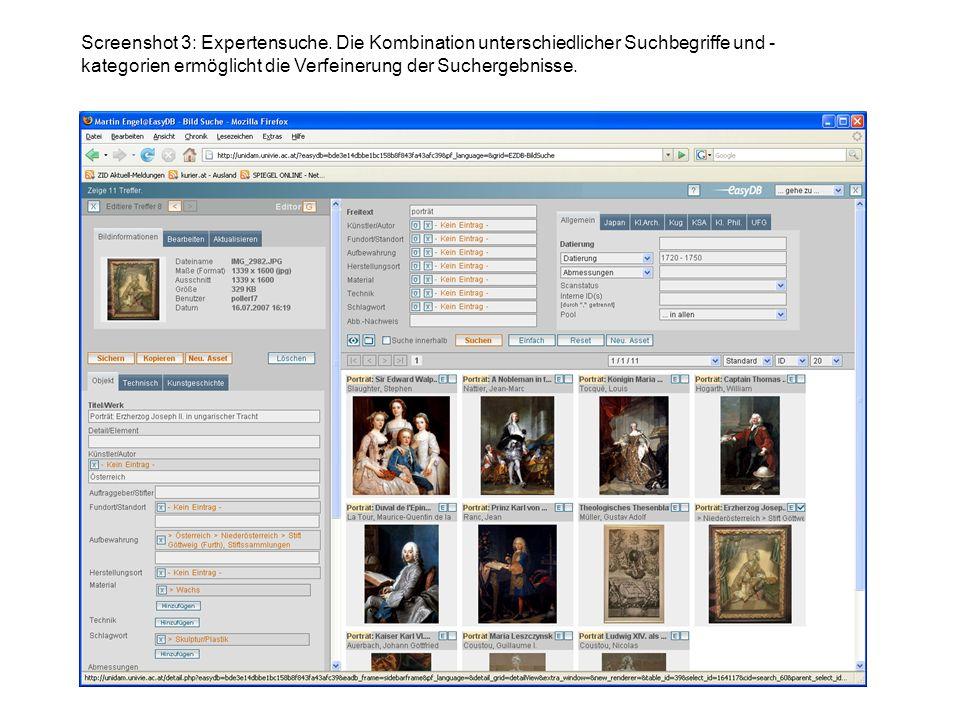 Screenshot 3: Expertensuche. Die Kombination unterschiedlicher Suchbegriffe und - kategorien ermöglicht die Verfeinerung der Suchergebnisse.