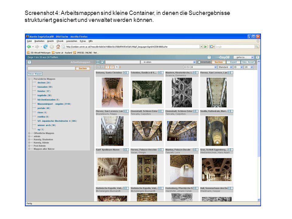 Screenshot 4: Arbeitsmappen sind kleine Container, in denen die Suchergebnisse strukturiert gesichert und verwaltet werden können.