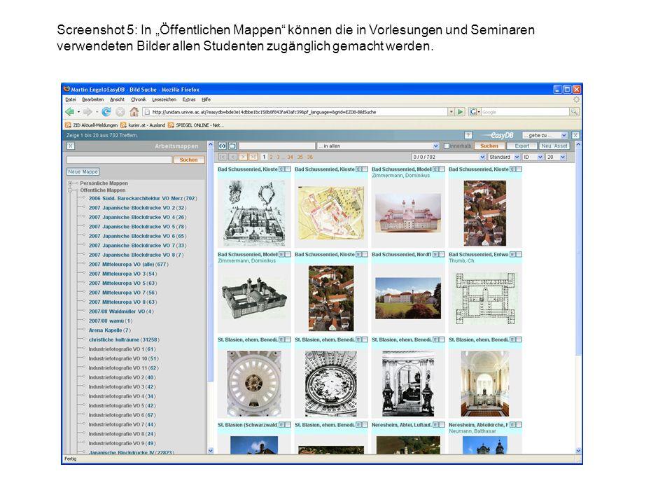 Screenshot 5: In Öffentlichen Mappen können die in Vorlesungen und Seminaren verwendeten Bilder allen Studenten zugänglich gemacht werden.