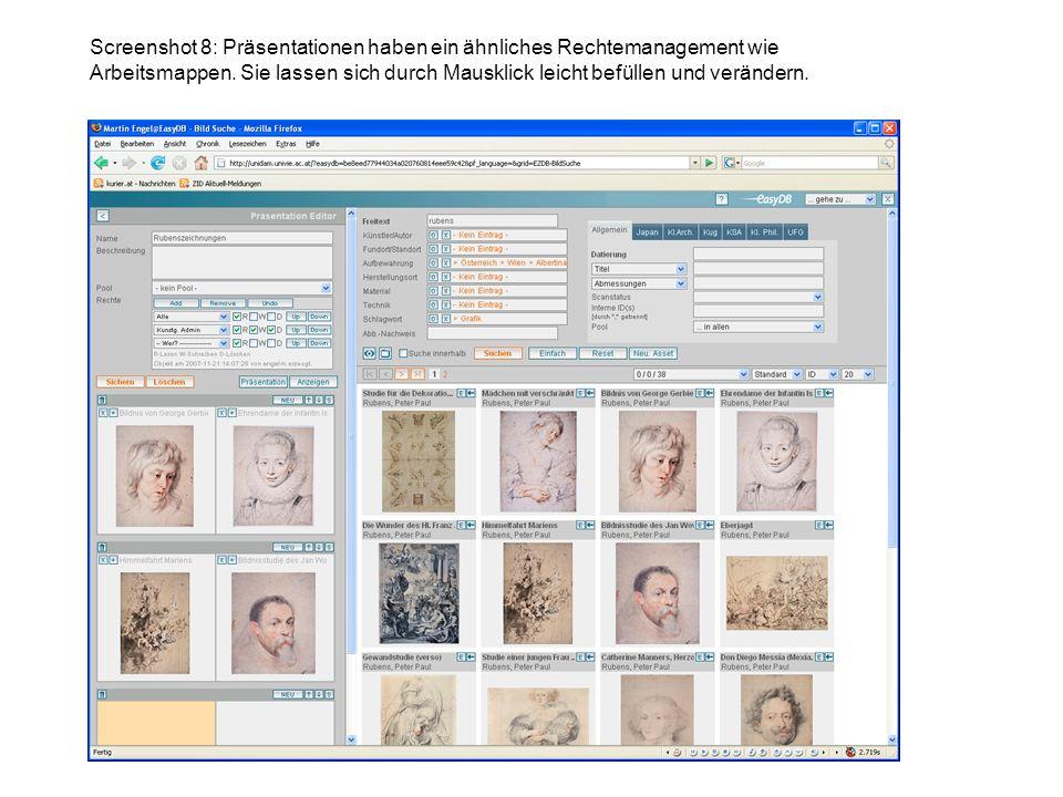 Screenshot 8: Präsentationen haben ein ähnliches Rechtemanagement wie Arbeitsmappen.