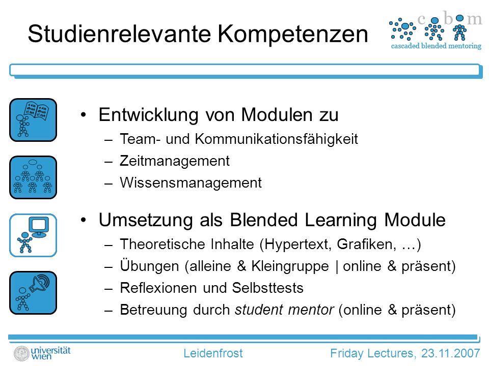 LeidenfrostFriday Lectures, 23.11.2007 Ablauf der Module
