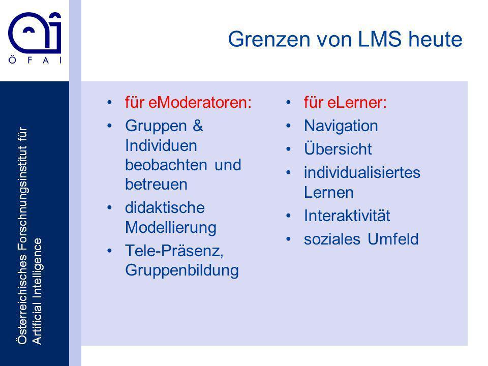 Österreichisches Forschnungsinstitut für Artificial Intelligence Grenzen von LMS heute für eModeratoren: Gruppen & Individuen beobachten und betreuen didaktische Modellierung Tele-Präsenz, Gruppenbildung für eLerner: Navigation Übersicht individualisiertes Lernen Interaktivität soziales Umfeld