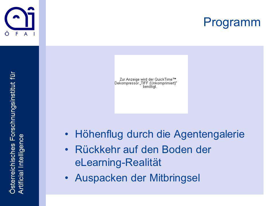 Österreichisches Forschnungsinstitut für Artificial Intelligence Programm Höhenflug durch die Agentengalerie Rückkehr auf den Boden der eLearning-Realität Auspacken der Mitbringsel