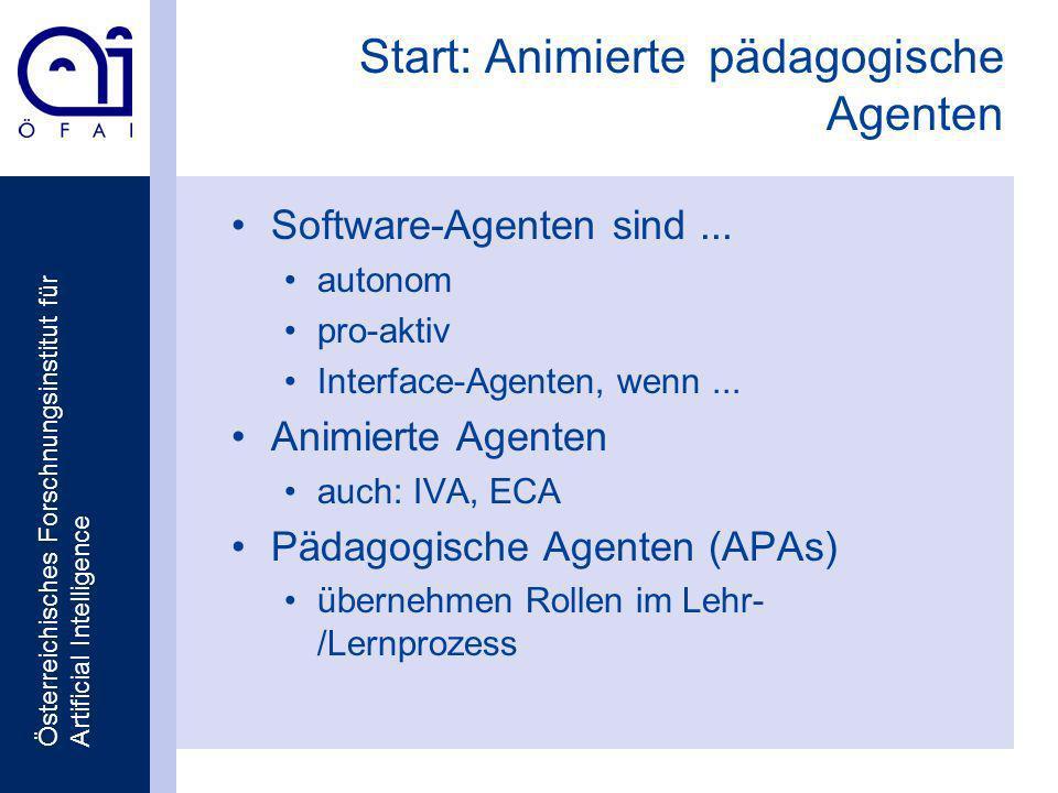 Österreichisches Forschnungsinstitut für Artificial Intelligence Start: Animierte pädagogische Agenten Software-Agenten sind...