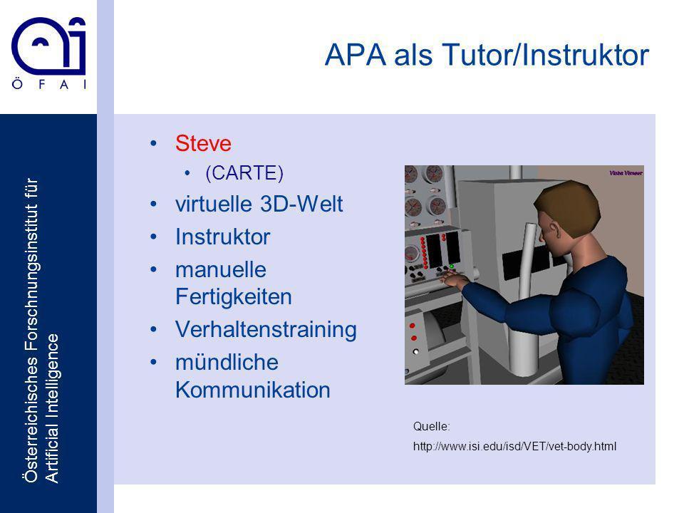 Österreichisches Forschnungsinstitut für Artificial Intelligence APA als Tutor/Instruktor Steve (CARTE) virtuelle 3D-Welt Instruktor manuelle Fertigkeiten Verhaltenstraining mündliche Kommunikation Quelle: http://www.isi.edu/isd/VET/vet-body.html
