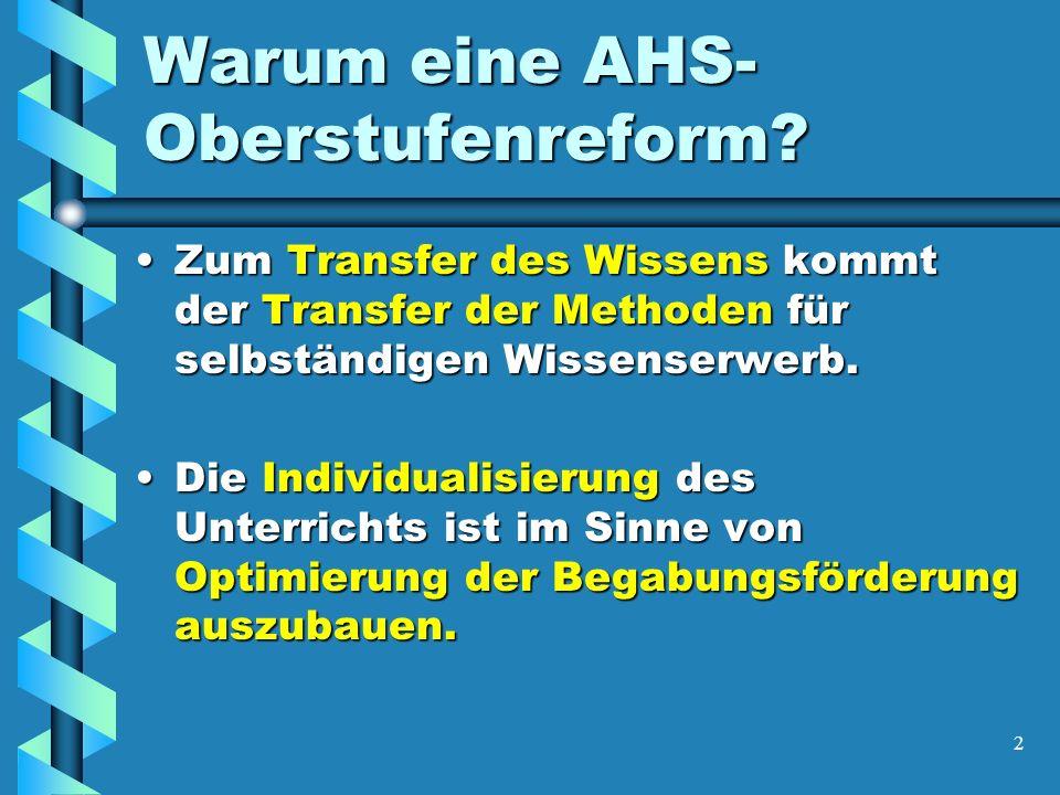 3 Warum eine AHS- Oberstufenreform.